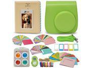 Xtech FujiFilm Instax Mini 9/8 GREEN Accessories Kit with Green Camera Case with Strap + Photo Album + Colorful Frames + Sticker Frames + Large Selfie Mirror +