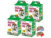 FujiFilm Instax Mini Instant Film 4 Pack (4 x 20) Total of 80 Sheets + 120 Assorted Colorful Mini Photo Stickers - Compatible with FujiFilm Instax Mini 9, Mini