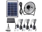 3*3W Solar Power Panel USB Charging LED Light with Fan Kit for Home Outdoor Camping 9SIAE8U6PX6179