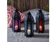 Trio of Black Metal Moroccan Indoor Battery Operated LED Flameless Candle Lanterns with Colored Glass 9SIAE9J6EW2699