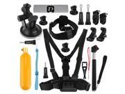 PULUZ 20 in 1 Accessories Combo Kit (Chest Strap + Head Strap + Suction Cup Mount + 3-Way Pivot Arm + J-Hook Buckles + Extendable Monopod + Tripod Adapter + Bob 9SIAEG26DP5435