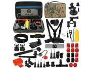 PULUZ 53 in 1 Accessories Total Ultimate Combo Kit with Camouflage EVA Case (Chest Strap + Suction Cup Mount + 3-Way Pivot Arms + J-Hook Buckle + Wrist Strap + 9SIAEG26E90619
