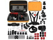 PULUZ 45 in 1 Accessories Ultimate Combo Kit with Orange EVA Case (Chest Strap + Suction Cup Mount + 3-Way Pivot Arms + J-Hook Buckle + Wrist Strap + Helmet Str 9SIAEG26E90629