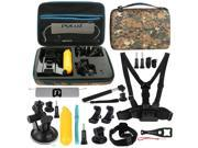 PULUZ 20 in 1 Accessories Combo Kit with Camouflage EVA Case (Chest Strap + Head Strap + Suction Cup Mount + 3-Way Pivot Arm + J-Hook Buckles + Extendable Monop 9SIAEG26E90625