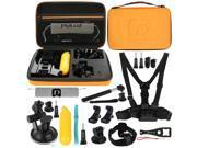 PULUZ 20 in 1 Accessories Combo Kit with Orange EVA Case (Chest Strap + Head Strap + Suction Cup Mount + 3-Way Pivot Arm + J-Hook Buckles + Extendable Monopod + 9SIAEG26E90621