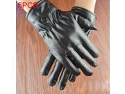 5 PCS Men Riding Gloves Motorcycle Waterproof PU Leather Gloves Winter Warm Gloves Touch Screen Retro Thickened PU Leather Cuff Plush Non-slip Outdoor Gloves 9SIAEG28369033