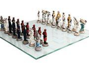 World War 2 Themed Battle of Pearl Harbor Chess Set US vs Japan Hand Painted with Glass Board 9SIAEGD6646961