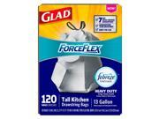 Glad ForceFlex OdorShield Drawstring Tall Kitchen Trash Bags, Heavy Duty, Crisp Clean, 13 Gallon (120 ct.)  - Trash Bags