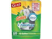 Glad ForceFlex OdorShield Tall Kitchen Drawstring Trash Bags, Gain Original Scent (13 gal., 120 ct.)  - Trash Bags