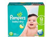 Pampers Baby Dry Diapers  - Diaper Size 2 - 222 Ct. ( Weight 12- 18 Lb.) (Comfortable baby diaper)
