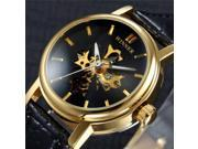 Fashion Men's Luxury Gold Skeleton Leather Mechanical Analog Wrist Watch 9SIAEN76D07313