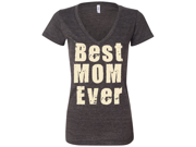 Best Mom Ever Ladies V-Neck Triblend T-shirt - Charcoal Black Large 9SIAENF6CY2576