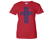 Native American Southwest Cross Ladies T-Shirt - Red Medium