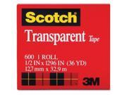 Scotch Transparent Tape  0.50 Width x 36 yd Length  1 Core  Nonyellowing, Photosafe  1 / Roll  Clear