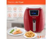 DELLA Air Fryer 5.8 Quart Multi Function Rotisserie Turbo Cyclonic Griller Roaster Oil Less Home Kitchen Fry Basket Red 9SIAFRA7FB5430