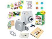 Fujifilm Instax Mini 9 Instant Camera SMOKEY WHITE w/ Fujifilm Instax Mini 9 Instant Films (20 Pack) + A 14 Pc Deluxe Bundle by Quality Photo For The Fujifilm I