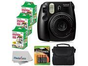 Fujifilm Instax Mini 8 Instant Film Camera (Black) With Fujifilm Instax Mini 6 Pack Instant Film (60 Shots) + Compact Bag Case + Batteries Top Kit - Internation
