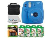 Fujifilm instax mini 9 Instant Film Camera (Cobalt Blue) + Fujifilm Instax Mini Twin Pack Instant Film (80 Shots) + Camera Case + AA Batteries + Accessory Bundl