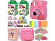 Fujifilm Instax Mini 9 Instant Camera FLAMINGO PINK + Fuji INSTAX Film (40 Sheets) + Accessories Kit Bundle + Custom Case with Strap + Assorted Frames + Photo A