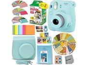FujiFilm Instax Mini 9 Instant Camera ICE BLUE + EMOJI Film stickers + Fuji INSTAX Film (20 Sheets) + Blue Custom Fitted Case + Instax Album + Colorful Stickers