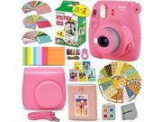 FujiFilm Instax Mini 9 Instant Camera FLAMINGO PINK + EMOJI Film stickers + Fuji INSTAX Film (20 Sheets) + Custom Fitted Case + Instax Album + Colorful Stickers