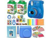 Fujifilm Instax Mini 9 Instant Camera COBALT BLUE + Fuji INSTAX Film (40 Sheets) + Accessories Kit Bundle + Custom Case with Strap + Assorted Frames + Photo Alb