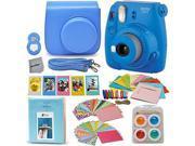 Fujifilm Instax Mini 9 Instant Fuji Camera (COBALT BLUE) + Accessories Bundle + Custom Matching Case w/Neck Strap + Photo Album + Assorted Frames + 4 Color Filt