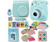 Fujifilm Instax Mini 9 Instant Fuji Camera (ICE BLUE) + Accessories Bundle + Custom Matching Case w/Neck Strap + Photo Album + Assorted Frames + 4 Color Filters