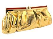 Gold Faux Leather Fashion Clutch Purse PS130 (9SIAFSX7CB3527 Mi Amore) photo