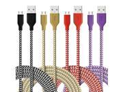 Micro USB Cable, 4-Pcs 6ft(2M)Fasgear Premium Nylon Braided Tangle-Free USB 2.0 High Speed Data Sync Charger Cables For Samsung Galaxy S7, S6, S5, Note 4, HTC M