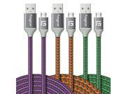 Micro USB Cable, 3 pcs (10ft/3M) Fasgear Nylon Braided Tangle-Free Fastest charger data colorful cable with Metal Connectors for Android, Samsung galaxy S7/S7 e