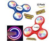 Finger Spinner Toy with LED Lights 12 Pack, Fidget Spinner With Beautiful LED Lights Red and Blue Set of 12