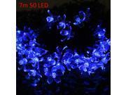 Image of Christmas Tree Decors 7m 50 LED Solar Blue String Light Peach Blossom Shape Lamp Xmas Tree Ornament
