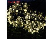 Image of Christmas Tree Decors 7m 50 LED Solar Warm White String Light Peach Blossom Shape Lamp Xmas Tree Ornament