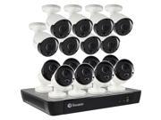 Swann 16-Channel, 16-Camera Indoor/Outdoor Wired 2160p 2TB NVR Surveillance System Black/White SWNVK-1685816-US