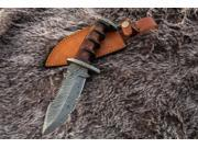"""11"""" Inch Custom Hand Made Forged Damascus Steel Hunting Bowie Knife Fixed Blade Walnut Wood Handle With Leather Sheath Full Tang thumbnail"""