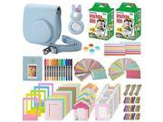 Xpix 135Pc. Fujifilm Instax Mini 8/8+ (Blue) Accessory Kit – includes 40 Instax Film, Case, Album, selfie mirror, 4 colored close up filters, 40 film frames, 12