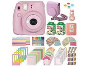 Fujifilm Instax Mini 8+ Instant Film Camera, (Strawberry), 2 Twin packs mini Instant Film, Case, Album, selfie mirror, colored close up filters, 40 film frames,