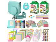 Xpix 135Pc. Fujifilm Instax Mini 8/8+ (Green) Accessory Kit – includes 40 Instax Film, Case, Album, selfie mirror, 4 colored close up filters, 40 film frames, 1