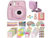 Fujifilm Instax Mini 8+ Instant Film Camera, (Strawberry), Case, Album, selfie mirror, colored close up filters, 40 film frames, 12 color markers & Complete Bun