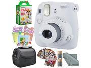 Fujifilm Instax mini 9 Instant Film Camera (Smokey White) and Accessory Package w/ Frames + Stickers + Films + Case + More