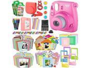 Fujifilm instax mini 9 Instant Film Camera (Flamingo Pink) & Xpix instax mini Accessory Kit Bundle