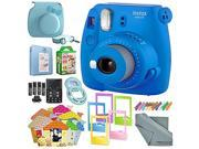 Fujifilm Instax mini 9 Instant Film Camera (Cobalt Blue) & Deluxe Accessory Kit w/ Selfie Lens + Mini Album & Case + Films + Assorted Frames + More