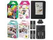 Instax Mini Character Film Bundle for Instax Mini Cameras with 4 Character Films, Fujifilm Instax Mini Black Album, 4 AA Rechargeable Batteries, and Chargers.