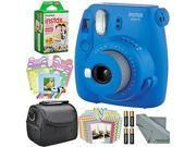 Fujifilm Instax mini 9 Instant Film Camera (Cobalt Blue) and Accessory Package w/ Frames + Stickers + Films + Case + More