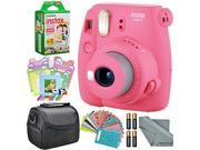 Fujifilm Instax mini 9 Instant Film Camera (Flamingo Pink) and Accessory Package w/ Frames + Stickers + Films + Case + More
