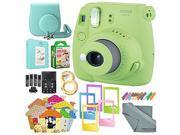 Fujifilm Instax mini 9 Instant Film Camera (Lime Green) & Deluxe Accessory Kit w/ Selfie Lens + Mini Album & Case + Films + Assorted Frames + More