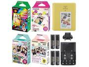 Instax Mini Character Film Bundle for Instax Mini Cameras with 4 Character Films, Fujifilm Instax Mini Yellow Album, 4 AA Rechargeable Batteries, and Chargers.