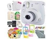 Fujifilm Instax mini 9 Instant Film Camera (Smokey White) & Deluxe Accessory Kit w/ Selfie Lens + Mini Album & Case + Films + Assorted Frames + More