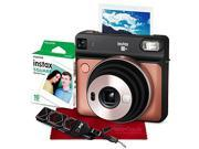 Fujifilm instax SQUARE SQ6 Instant Film Camera (Blush Gold) with Fujifilm Instax Square Instant Film, Xpix Camera Strap, and Fibertique Cloth